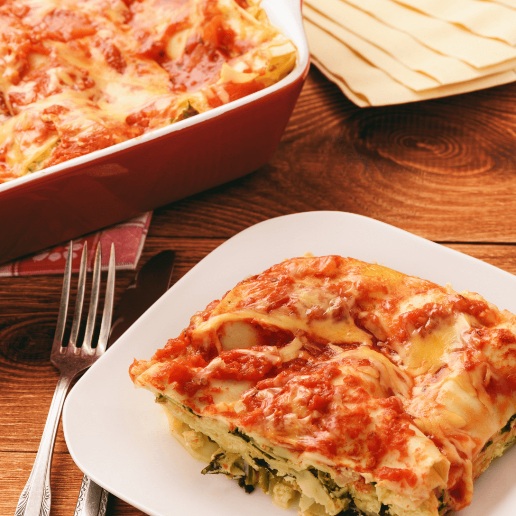 lasagna with spinach, cheese and tomato sauce recipe